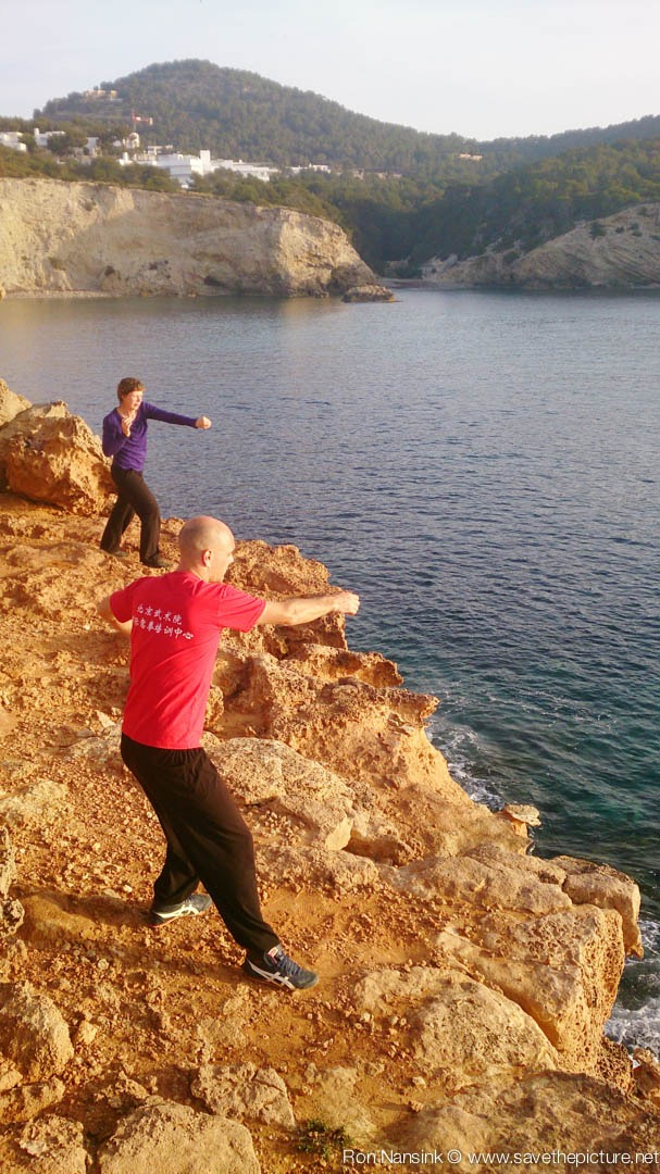 Taikiken training outside on the rocks Casa Gazebo, Ibiza 7