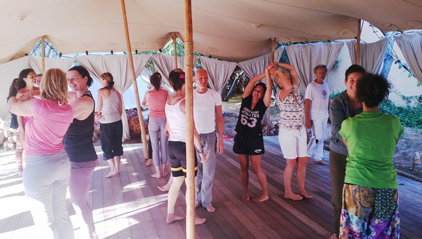 TheFeel group Natural Tuning-intermezzo at Afkes magic Yoga retreat Ibiza
